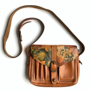 Patricia Nash Floral Italian Leather Messenger Bag